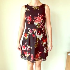 Black with floral print dress